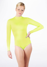 Alegra Shiny Ashlyn Leotard Yellow front. [Yellow]