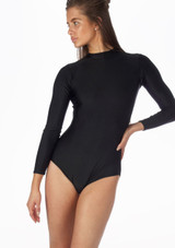 Alegra Shiny Ashlyn Leotard Black front. [Black]