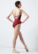 Move Ida Cross Back Leotard Red back. [Red]