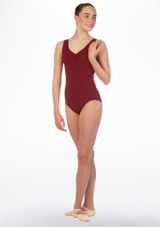 Move Lorette Teen Tank Leotard Red front. [Red]