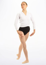 Tappers & Pointers Knit Ballet Wrap Adults White. [White]