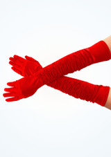 Satin Theatrical Gloves Red. [Red]