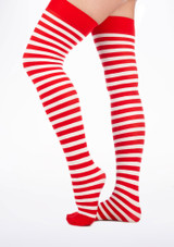 Striped Stockings Red-White. [Red-White]