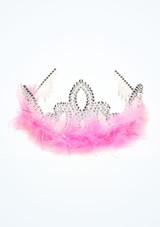 Silver Tiara with Marabou Trim Pink. [Pink]