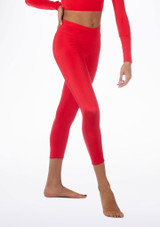 Alegra Shiny Crop Leggings Red front #2. [Red]