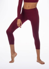 Alegra Shiny Crop Leggings Red front. [Red]