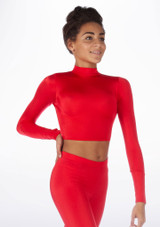 Alegra Shiny Raya Dance Top Red front #2. [Red]