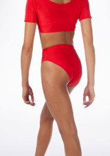 Alegra Shiny Dance Briefs Red back. [Red]