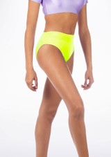Alegra Shiny Dance Briefs Yellow front #2. [Yellow]