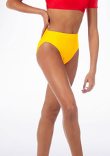 Alegra Shiny Dance Briefs Yellow front. [Yellow]