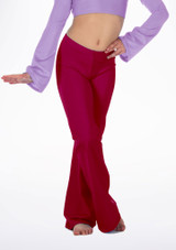 Alegra Girls Shiny Jazz Pant Red front. [Red]