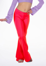 Alegra Girls Shiny Jazz Pant Red front #2. [Red]