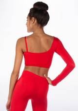 Alegra Shiny Echo Dance Top Red back. [Red]
