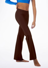 Alegra Shiny Jazz Pant Brown front. [Brown]