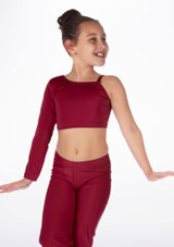Alegra Girls Shiny Echo Dance Top Red front. [Red]