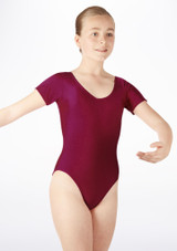 Alegra Girls Shiny Melody Leotard Red front #2. [Red]