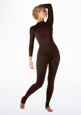Alegra Shiny Aspen Catsuit Brown front. [Brown]