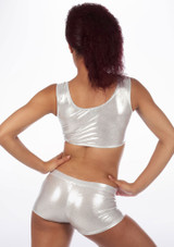 Alegra Metallic Betty Dance Crop Top Silver back. [Silver]