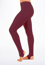 Alegra Shiny Stirrup Leggings Red front #2. [Red]