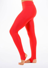 Alegra Shiny Stirrup Leggings Red front. [Red]