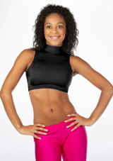 Alegra Shiny Maris Dance Crop Top Black front. [Black]