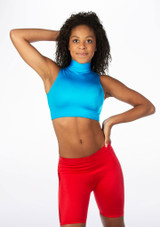 Alegra Shiny Maris Dance Crop Top Blue front. [Blue]