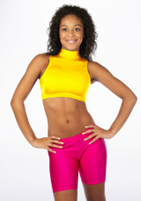 Alegra Shiny Maris Dance Crop Top Yellow front. [Yellow]