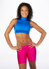 Alegra Shiny Maris Dance Crop Top Blue front #2. [Blue]