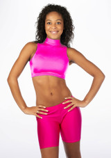 Alegra Shiny Maris Dance Crop Top Pink front #2. [Pink]
