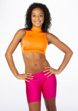 Alegra Shiny Maris Dance Crop Top Orange front. [Orange]