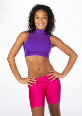 Alegra Shiny Maris Dance Crop Top Purple front. [Purple]