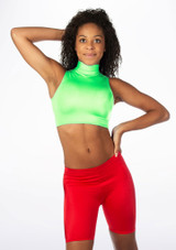 Alegra Shiny Maris Dance Crop Top Green front #2. [Green]