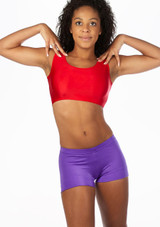 Alegra Girls Shiny Betty Dance Crop Top Red front. [Red]