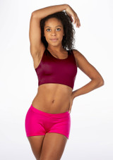 Alegra Girls Shiny Betty Dance Crop Top Red front #2. [Red]