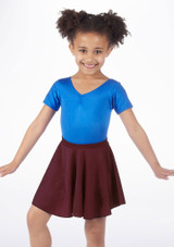 Alegra Girls Shiny Circle Dance Skirt Red front #2. [Red]