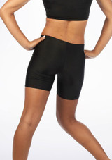 Alegra Girls Shiny Cycling Shorts Black back. [Black]
