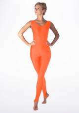 Alegra Shiny Deanna Unitard Orange front. [Orange]