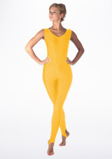 Alegra Shiny Deanna Unitard Yellow back. [Yellow]
