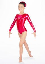 Alegra Girls Stars Long Sleeve Gymnastics Leotard Pink front #2. [Pink]