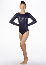 Alegra Girls Stars Long Sleeve Gymnastics Leotard Blue back. [Blue]