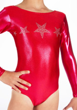 Alegra Girls Stars Long Sleeve Gymnastics Leotard Pink front #3. [Pink]