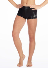 The Zone Chic Hipster Gymnastics Shorts Black front. [Black]