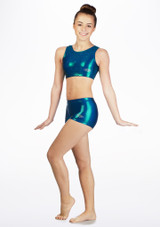 The Zone Chic Hipster Gymnastics Shorts Green front. [Green]