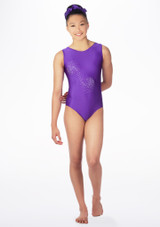 Alegra Girls Swirl Sleeveless Gymnastics Leotard Purple front. [Purple]