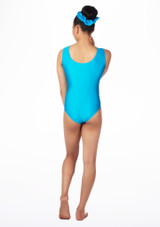 Alegra Girls Swirl Sleeveless Gymnastics Leotard Blue back. [Blue]