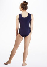 Alegra Girls Swirl Sleeveless Gymnastics Leotard Blue back #2. [Blue]