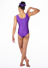 Alegra Girls Swirl Sleeveless Gymnastics Leotard Purple back. [Purple]