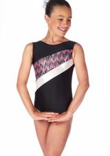 Alegra Girls Galaxy Sleeveless Gymnastics Leotard Black-Pink. [Black-Pink]