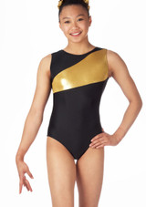 Alegra Girls Saturn Sleeveless Gymnastics Leotard Black-Gold. [Black-Gold]