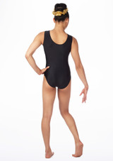 Alegra Girls Saturn Sleeveless Gymnastics Leotard Black-Gold #2. [Black-Gold]